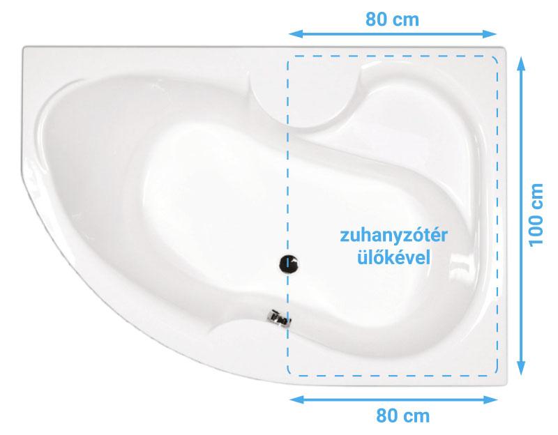 Azalia kád zuhanyzótérrel