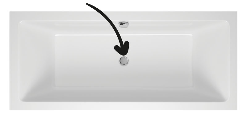 Középlefolyós egyenes akril kád