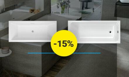 Kiemelt egyenes fürdőkád akció – 15% kedvezmény ECO, Sabina, Sabina Pro fürdőkádakra
